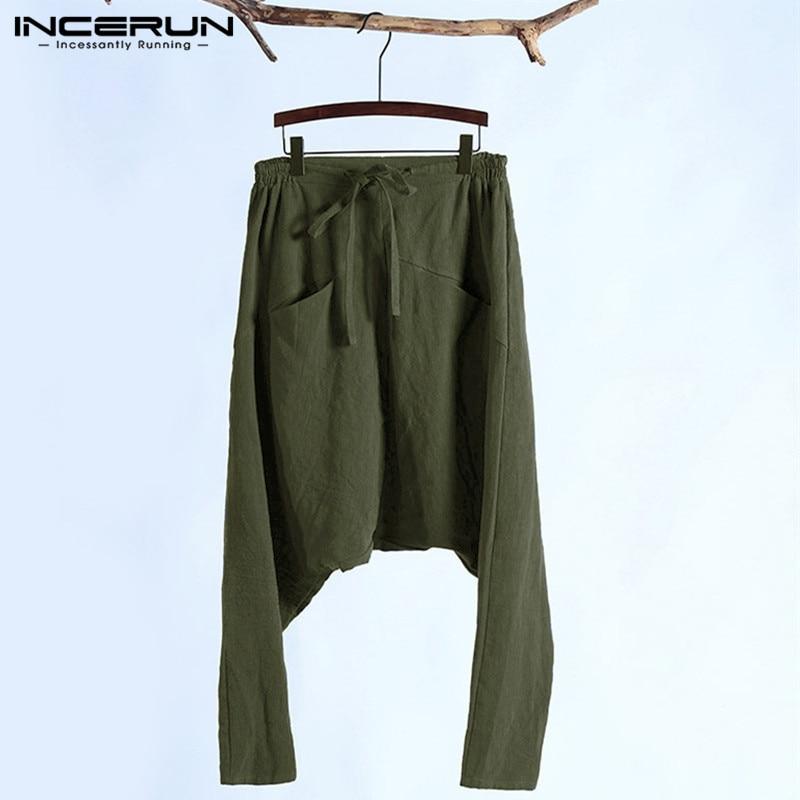 Fashion Plus Size S-5XL Men Harem Pants Baggy Cross-pants Cross Crotch Trousers Drawstring Pockets Joggers HipHop Hombre Dancing