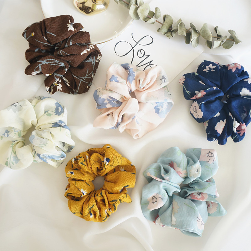 2019 New Ponytail Holder Floral Hair Scrunchies Chiffon Fabric Hair Ties Vintage Elastics Hairbands For Lady Hair Accessories