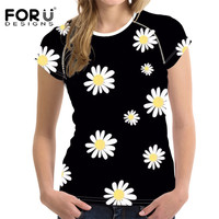 FORUDESIGNS Daisy Black Women T Shirt Hipster Short Sleeve Tops Clothing Novelty Summer O neck T shirts for Girls Floral Shirts