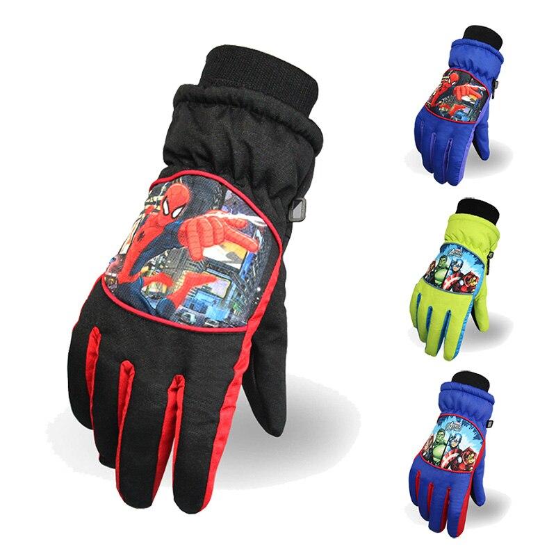 Winjfo 5-14 Years Old <font><b>Children</b></font> Winter <font><b>Gloves</b></font> For Kids Ski <font><b>Gloves</b></font> For Boys And Girls <font><b>Spiderman</b></font> Star Wars Warm Waterproof <font><b>Gloves</b></font>