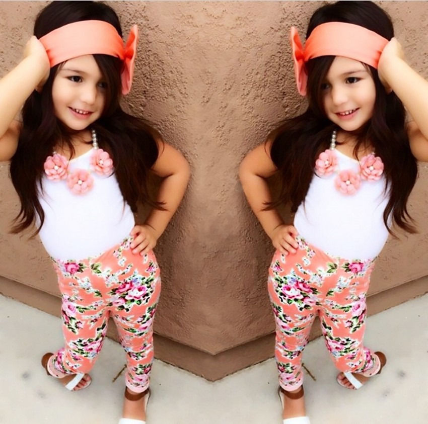 3pcs Tops T-shirt Vest Pants 2016 NEW Children Kids Baby Girls Flower Vintage Bow Hairband Cotton Outfits Clothes Sets Summer