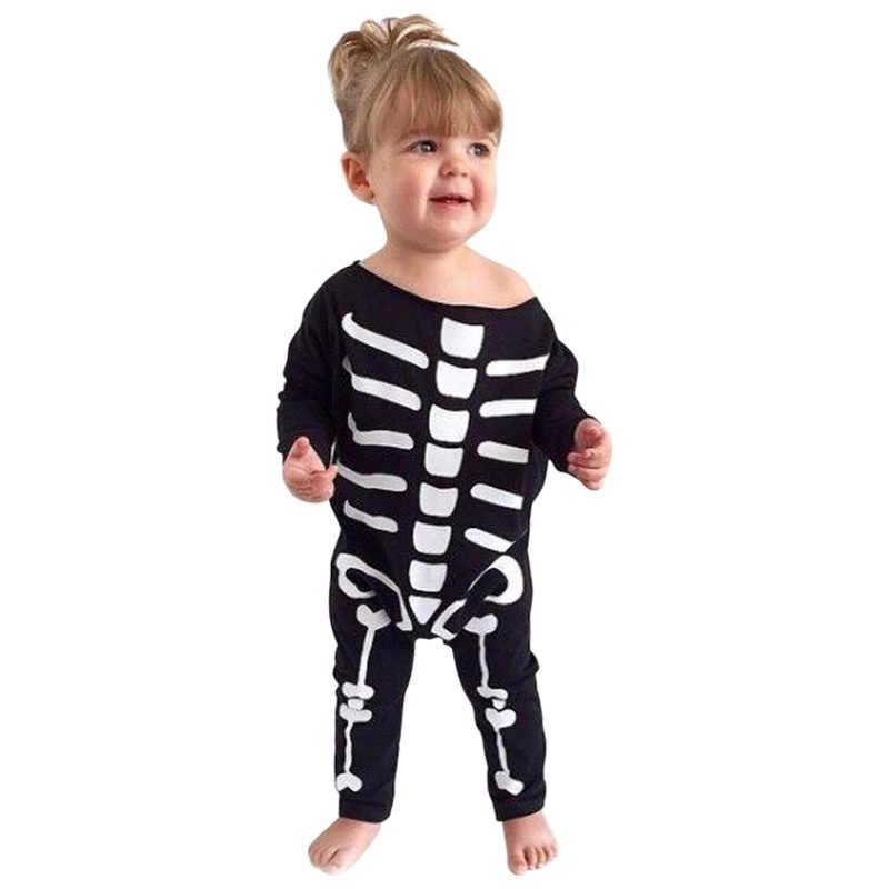 Забавные вечерние костюмы на Хэллоуин для девочек и мальчиков; одежда для малышей; хлопковые детские комбинезоны с длинными рукавами; одежда черного цвета для новорожденных