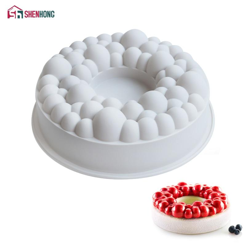 SHENHONG Cherry Bubble Crown Cake Mould Geometric Desserts Mold Silicone Art 3D Mousse DIY