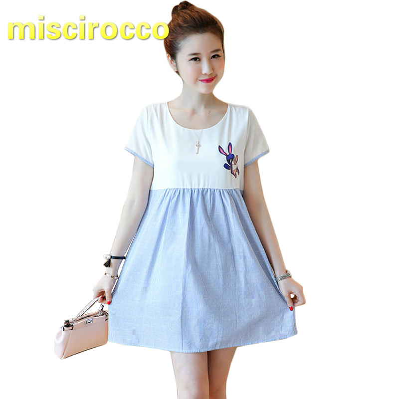 Maternity Dress Cotton Splicing Short Sleeved Pregnant Womens Rabbit Dress Go Out Women Tops Breathable Comfort