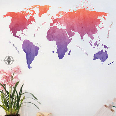 Kids learning colorful world map removable vinyl room wall sticker kids learning colorful world map removable vinyl room wall sticker decal mural gumiabroncs Choice Image