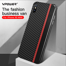 For iPhone 6 7 8 Plus X XS XR Max Leather Case Vpower Carbon Fiber Protection Phone Back Cover for PU