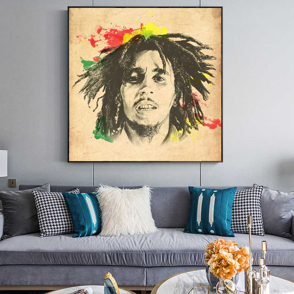 Bob Marley Modern Wall Posters And Prints World Pop Music Star Canvas Art Paintings On The Wall Cuadros Picture For Living Room