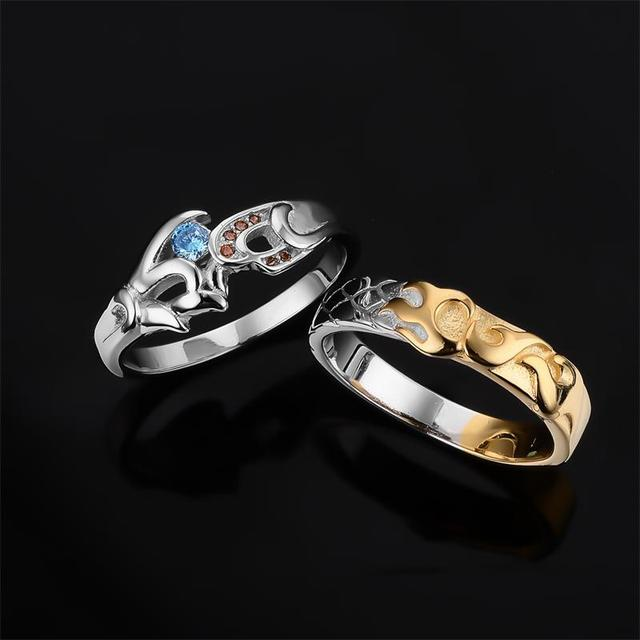 925 Jewelry Sterling Silver Engagement Rings LoL Hero Master Couples