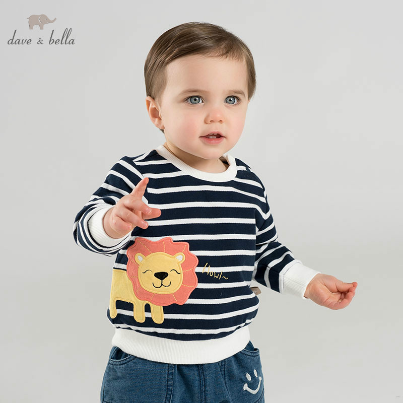 DBJ9898 dave bella spring baby boys T-shirt children long sleeve print tops boys high quality pullover kids fashion tees