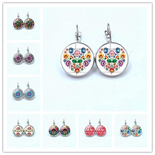 Earring Jewelry Polish Folk Flowers Glass-Cabochon New Hand-Craft Art-Patterns