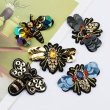 QIAO Стразы ручной работы из бисера и блесток патчи в форме пчелы мода пришить жемчужный патч для одежды из бисера аппликация милый DIY