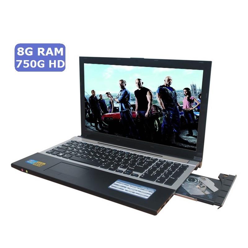 15.6 Jeu Portable Windows 7/10 8 gb RAM 750 gb HDD DVD Rapide PC En Métal D'affaires Étudiant arabe AZERTY Espagnol Russe Clavier