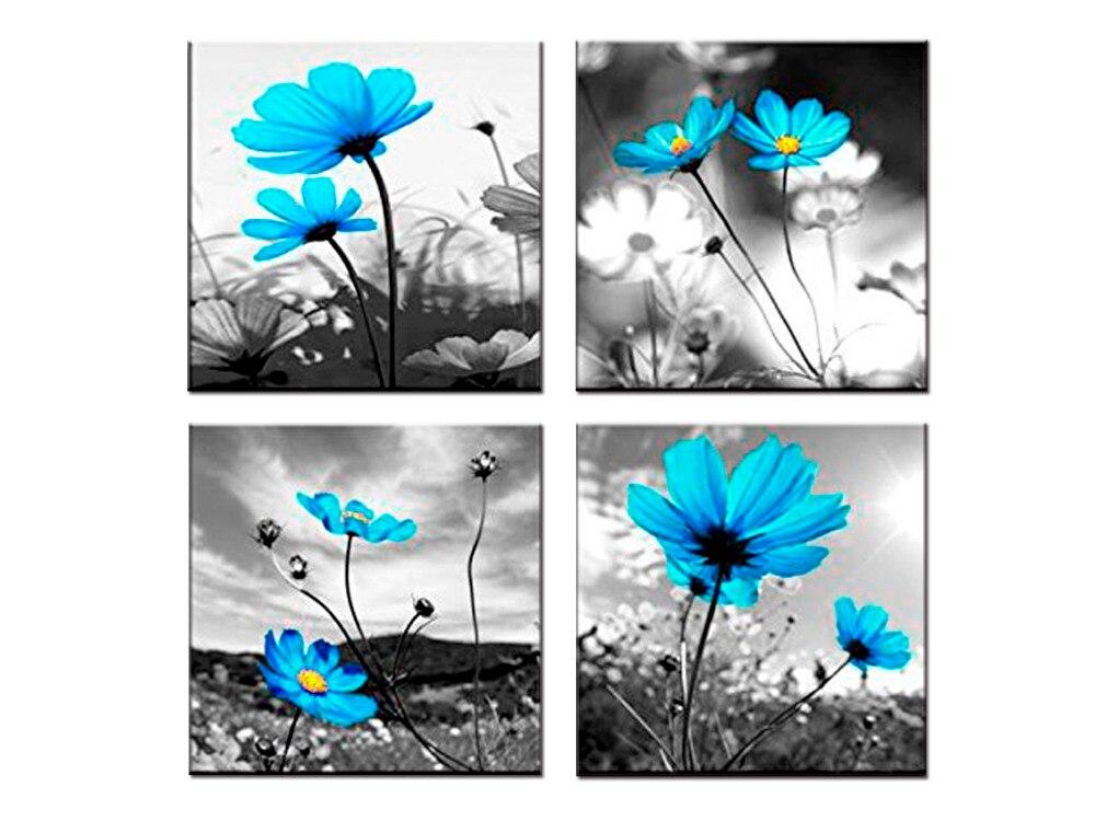 TOP sale 4 Piece Blue flower flowers Canvas Art Prints Paintings ...