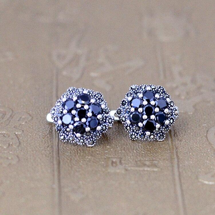 KJJEAXCMY fine jewelry 925 pure silver inlaid Black Agate fancy six horns lady Earrings Jewelry