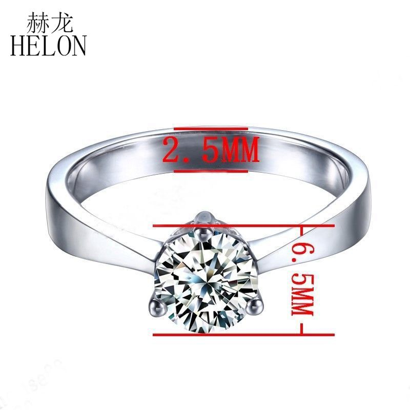 HELON 0.80CT Round Cut Moissanites Ring 925 Sterling Silver Engagement Jewelry Lab Grown Moissanites Diamond Wedding Fine Ring
