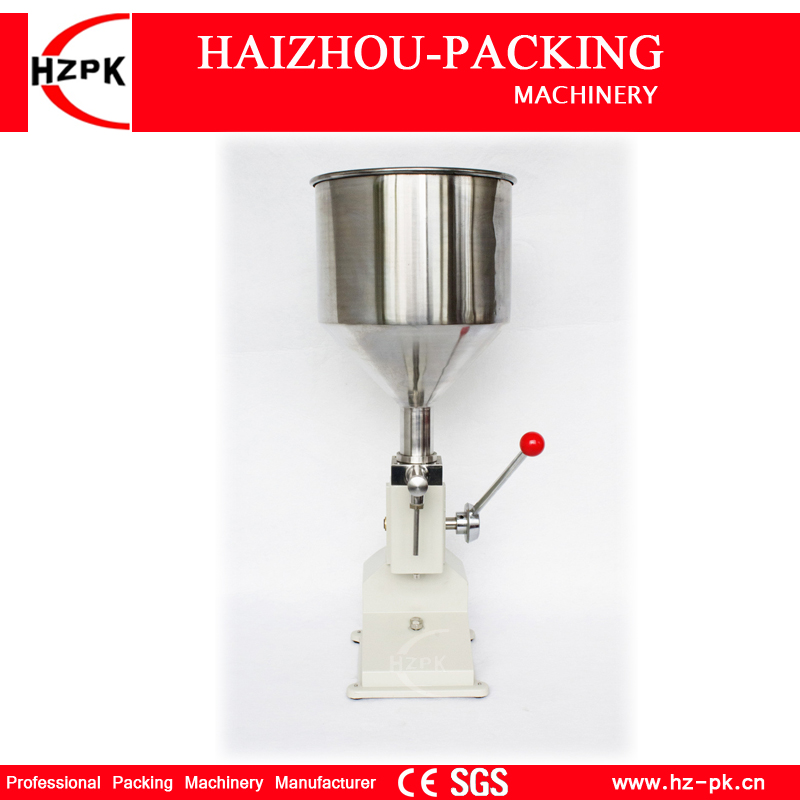 HZPK Manual Filling Machine Handle Pressure Easy Operation Paste Food Filling Machine Liquid Filler Honey Packing Machine 5-50ml a03 baterpak manual paste liquid filling machine small bottle handle operate filling machine 5 50ml tank capacity 10kg