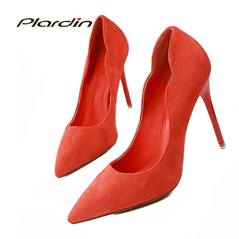 296b68c73 Plardin مضخات امرأة الزفاف مضخات الجلد المدبوغ الكشكشة أحذية المرأة رقيقة  كعب جديد السيدات أحذية الزفاف واشار تو عالية الكعب