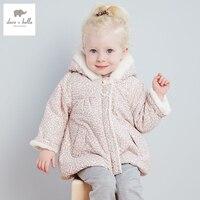 DB2808 dave bella winter baby girl cute jacket padded jacket girls outerwear girls wadded coat girls leopard jacket