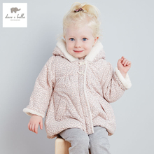DB2808 дэйв белла зима девочка мило куртка ватник девушки верхняя одежда девушки ватные пальто девушки куртка леопарда