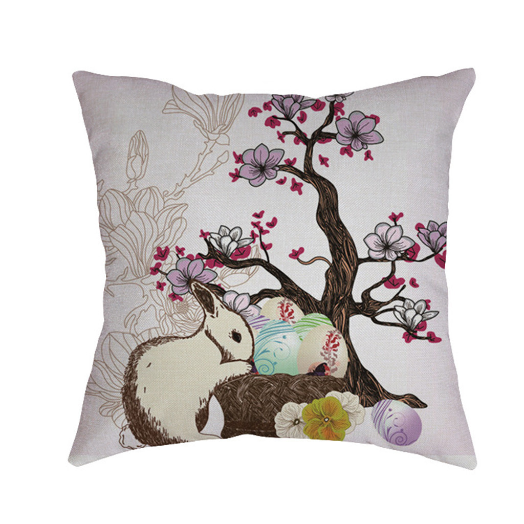 Image 5 - Cute rabbit print Cushion cover Easter Sofa Bed Home Decoration Festival Environmental protection Pillowcases Cushion Cover-in Cushion Cover from Home & Garden