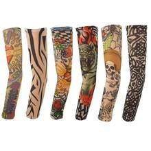 6 шт. модные для мужчин и женская Татуировка Arm наколенник высокие эластичные рукава протектор нейлон Halloween вечерние Y Танцевальная вечеринка татуировки рукав