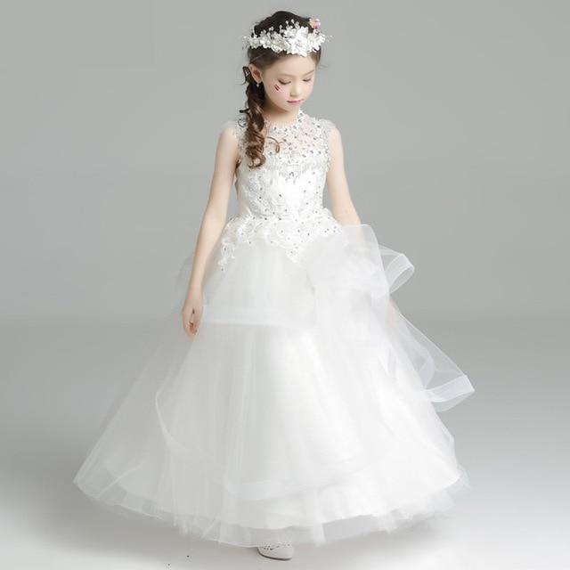 bb8ac156127 High Grade White Flower Girl Dresses Beading First Holy Communion Dress  Girls Ball Gown Floor Length Princess Dress for Prom B53