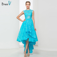 Dressv Ice Blue A Line Ruffles Lace Asymmetry Prom Dress Jewel Neck High Low Zipper Up