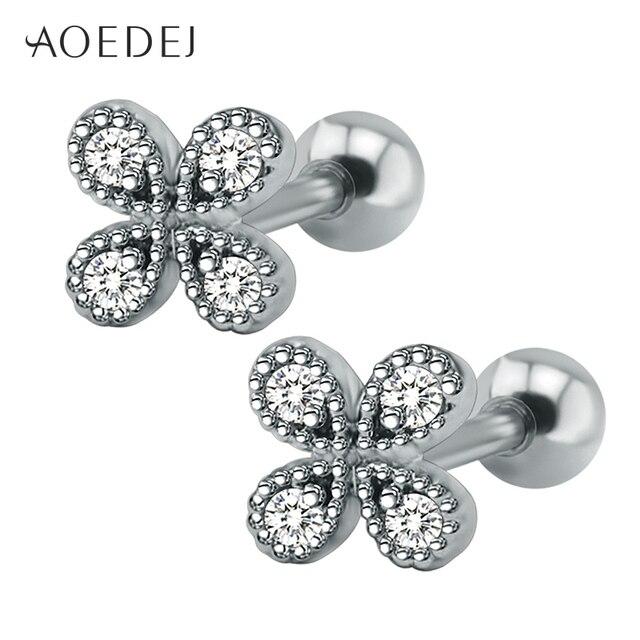 Aoedej Four Leaf Clover Cubic Zirconia Earrings Studs Women Stainless Steel For S Crystal Oorbellen