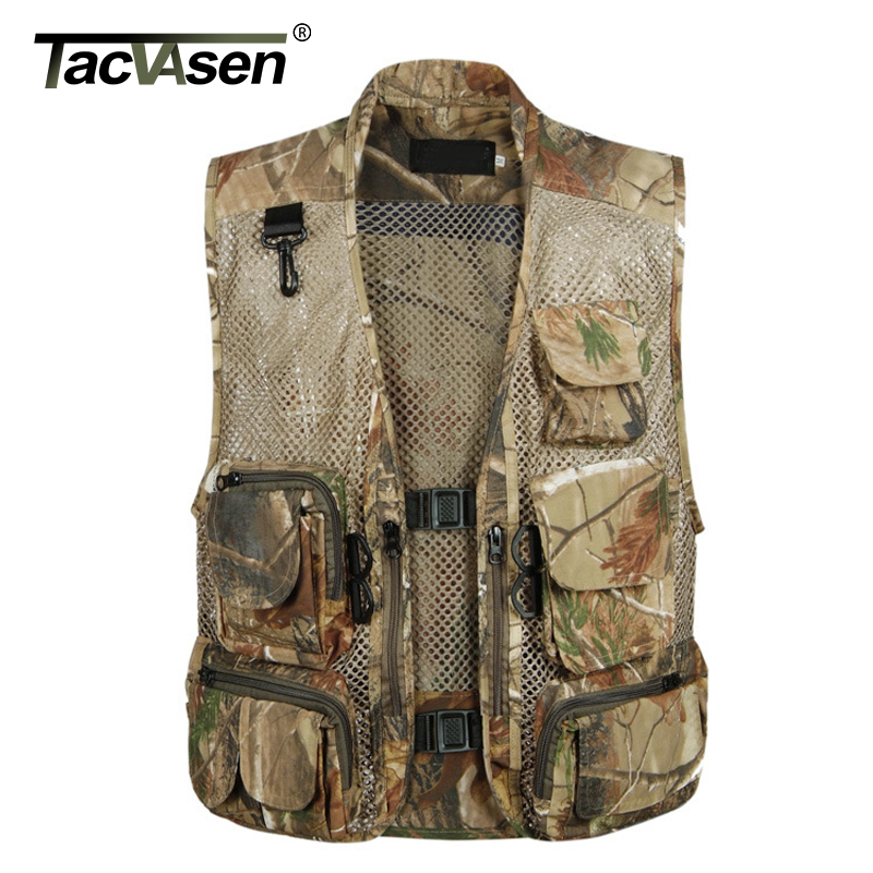 TACVASEN Summer Tactical Mesh Vest Men Multi Pockets Fish Hunt Vest Army Shoot Waistcoat Outerwear Clothing TD-BJXL-001