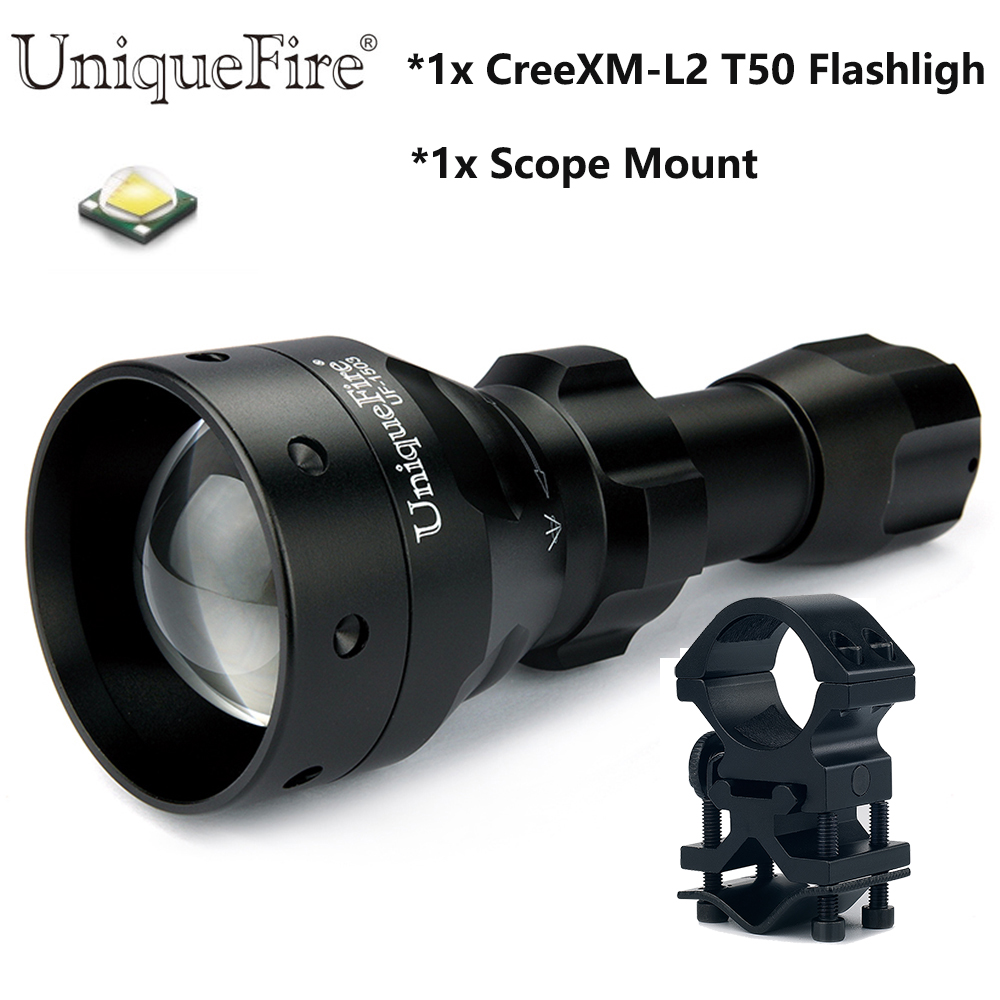 UniqueFire 1200LM Super Bright Flashlight UF-1503 Cree XM-L2 Led Zoom 50mm Convex Lens IP65 Waterproof Flashlight+Scope Mount uniquefire black flashlight uf 1503 ir 940nm led light 50mm convex lens aluminum torch zoom 3 modes rechargeable battery lamp