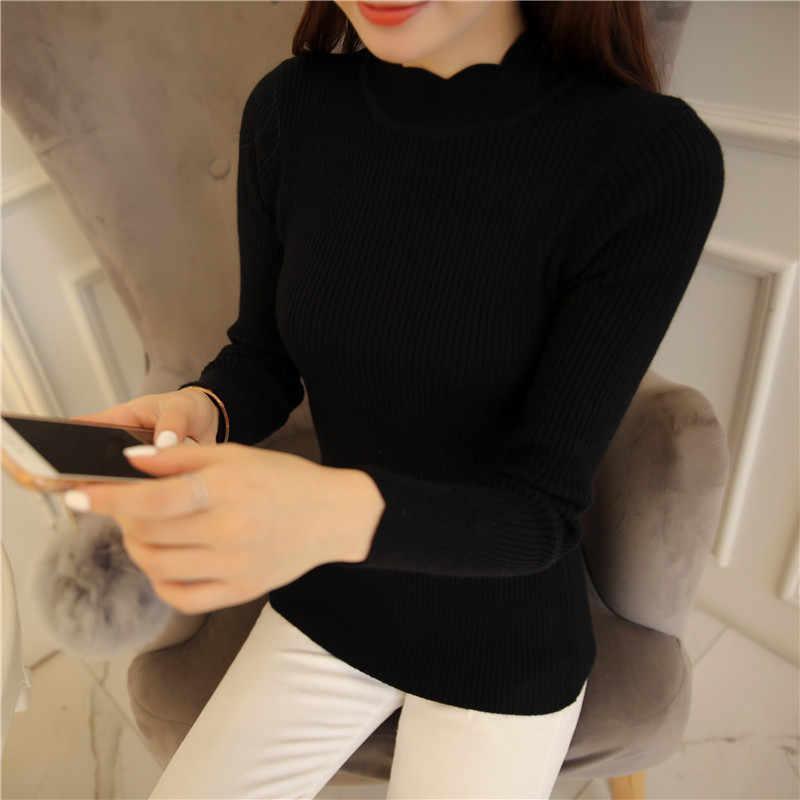 ¡Moda coreana 2019! suéteres y pulóveres para Mujer, suéter de Mujer con mangas con volantes y cuello alto, Tops elásticos sexis ajustados sólidos para Mujer