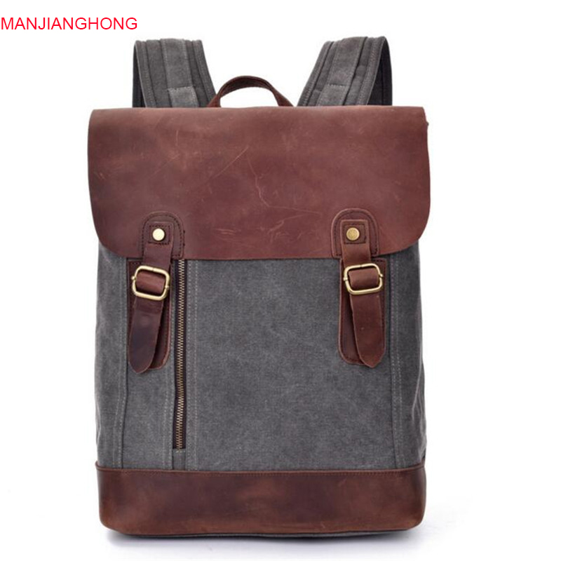745e7565b6 High Quality Vintage Backpack for Men Teenagers School Back Pack Canvas  Crazy Horse Leather Women Laptop Bagpack Travel Bag P209-in Backpacks from  Luggage ...