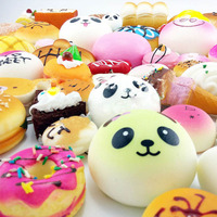 20Pcs Cute Mini Soft Random Squishy Phone Strap Simulation Cake Macaron Dessert Buns Phone Straps Decor
