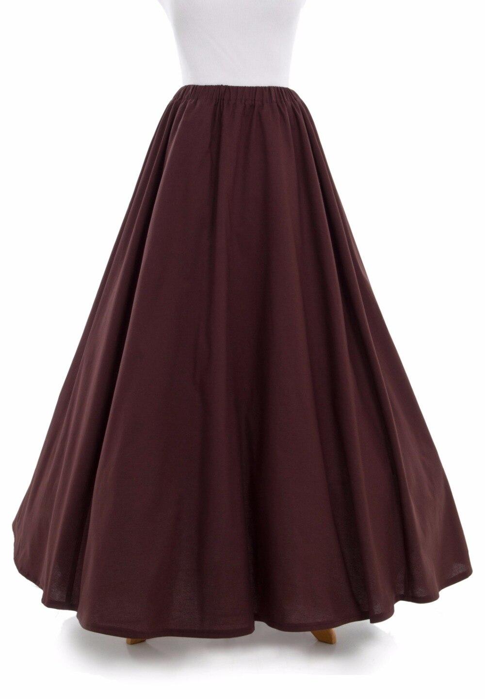 Victorian Falda Reunieron Victoriano Color Francés Faldas Plisado Algodón Bullicio qHwwa