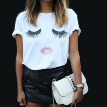 Print Top Tees Eyelash T Shirt Women 2017 Harajuku White Femme T Shirt Plain Plus Size Summer Top Women's T Shirt  Clothing Sale