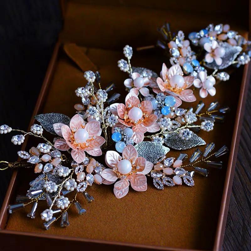 Barokowy Retro ręcznie narzeczonych opaski do włosów panny młodej nakrycia głowy akcesoria do włosów ślubne wieczorowe z kryształem górskim biżuteria do włosów w Biżuteria do włosów od Biżuteria i akcesoria na  Grupa 1