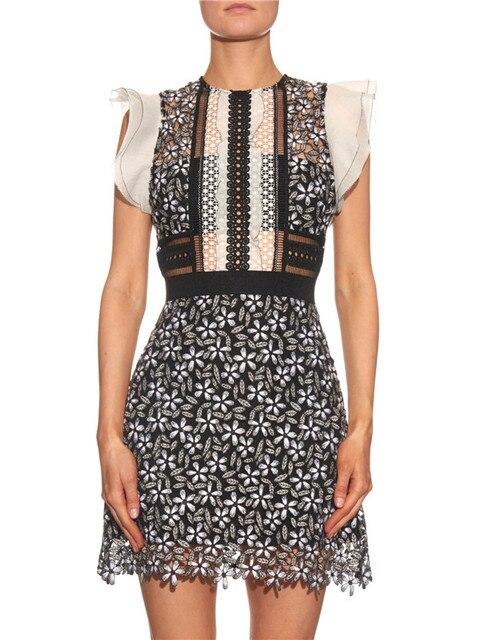 2016 летние оборками рукавом дейзи гипюр mini dress Высокое качество sexy women dress цветочные кружева выдалбливают бренд одежды