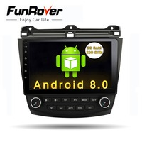 Funrover 10.1 Android 8.0 2 din Car Radio dvd player for Honda Accord 7 2003 2004 2005 2006 2007 car dvd gps navigation player