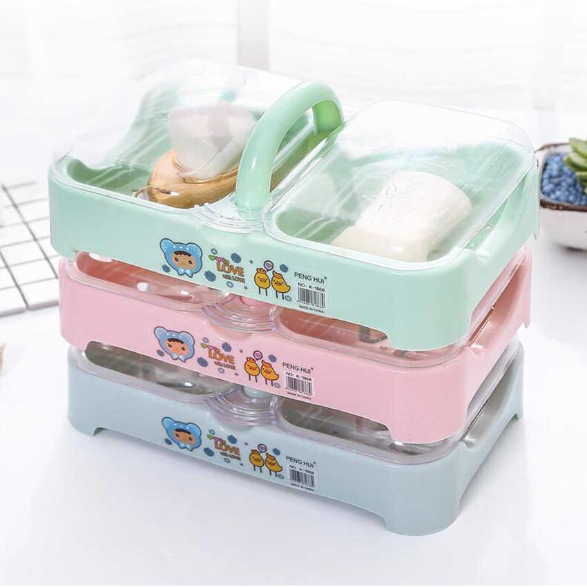 1ชิ้นพลาสติกจานสบู่กับปกคู่เซลล์จับกล่องเก็บภาชนะกันน้ำอุปกรณ์ห้องน้ำผู้ถือออแกไนเซอร์