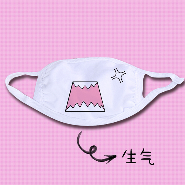 Kawaii Dust Mask 1PC Kpop Cute Anime Cartoon Mask Muffle Emotional Mask Kpop Funny Unisex  Cotton  Mask 1