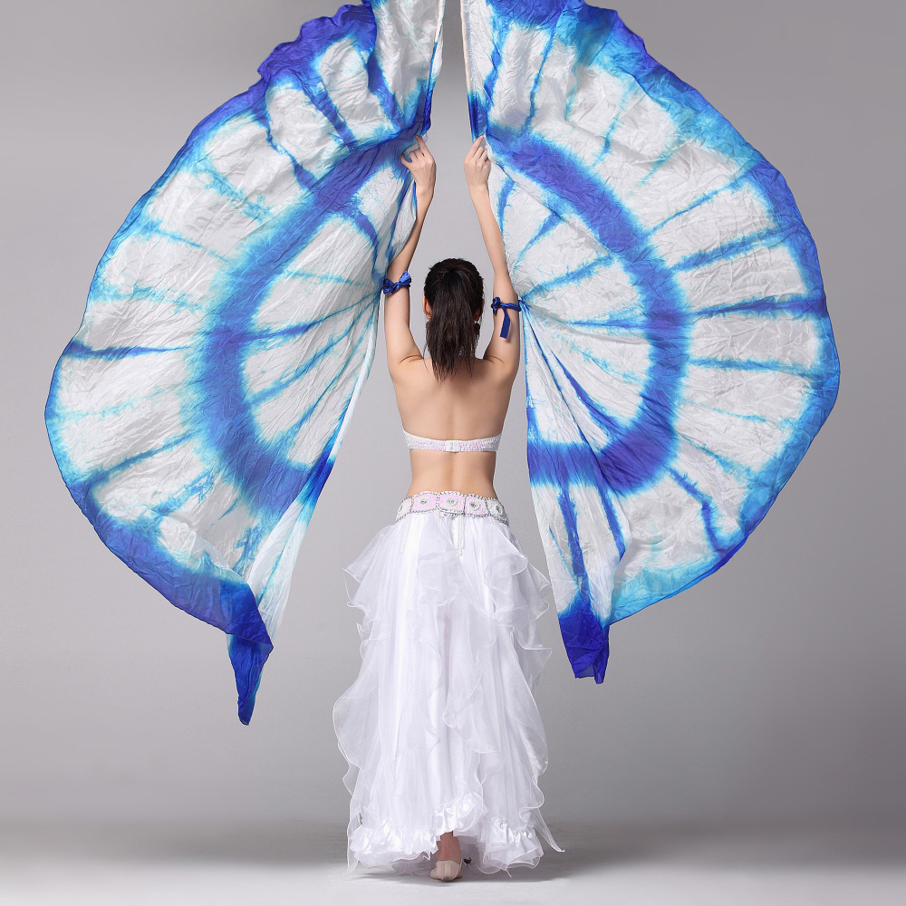 1 Pair Stage Performance Props Half Circle Silk Veil Dance 100% Silk Right/Left Hand Belly Dance Veils Colored Silk Wings Belly