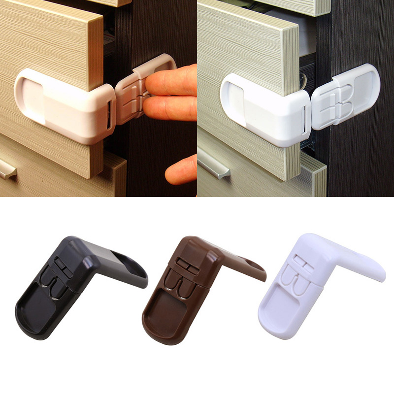 Multifunctional Children's Safety Lock Double Button Drawer Door Lock 90 Degree Right Angle Lock For Kids Safety Care