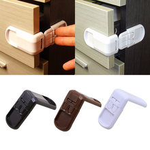 Multifunctional Children's Safety Lock Double Button Drawer Door Lock 90 degree right angle lock For Kids Safety Care(China)