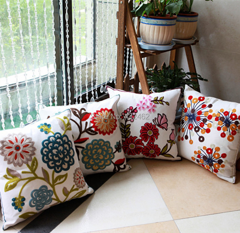 100% cotton canvas square toss throw pillowcase classic Nepal embroidery patten cushion sham cover for sofa home car decoration