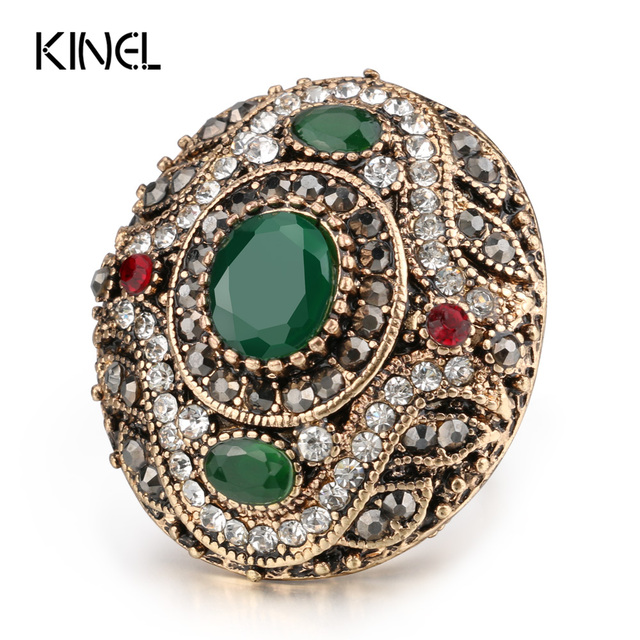 Kinel New Arrival Antique Rings For Women Gold Color Vintage Wedding