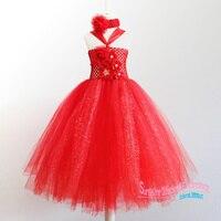 2015 Handmade Europejskie i Amerykańskie Stylu dzieci 1-7year dziewczynek Czerwony kwiat tutu sukienka Sukienka na Imprezę