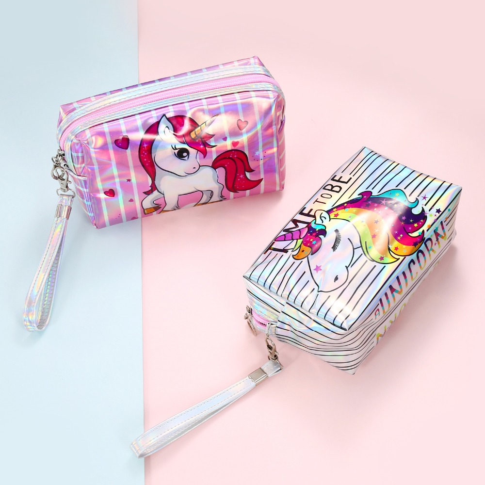 Unicorn Leather Women Makeup Bag Waterproof Cute Purse Small Clutch Handbag Travel Makeup Cosmetic Toiletry Zip Bag Pouch