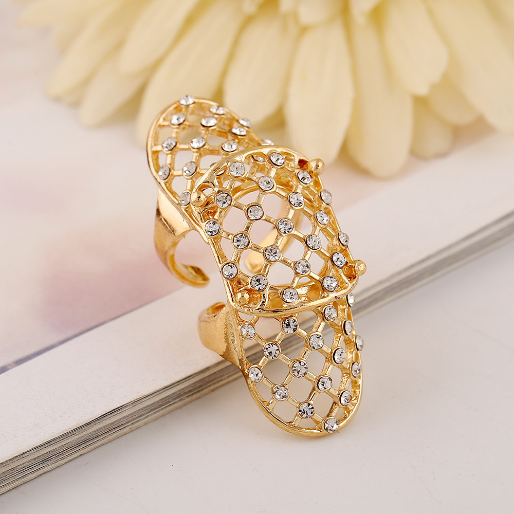 European BOHO Beautiful Crystal Net Grid Hollow Out Ring Large And ...