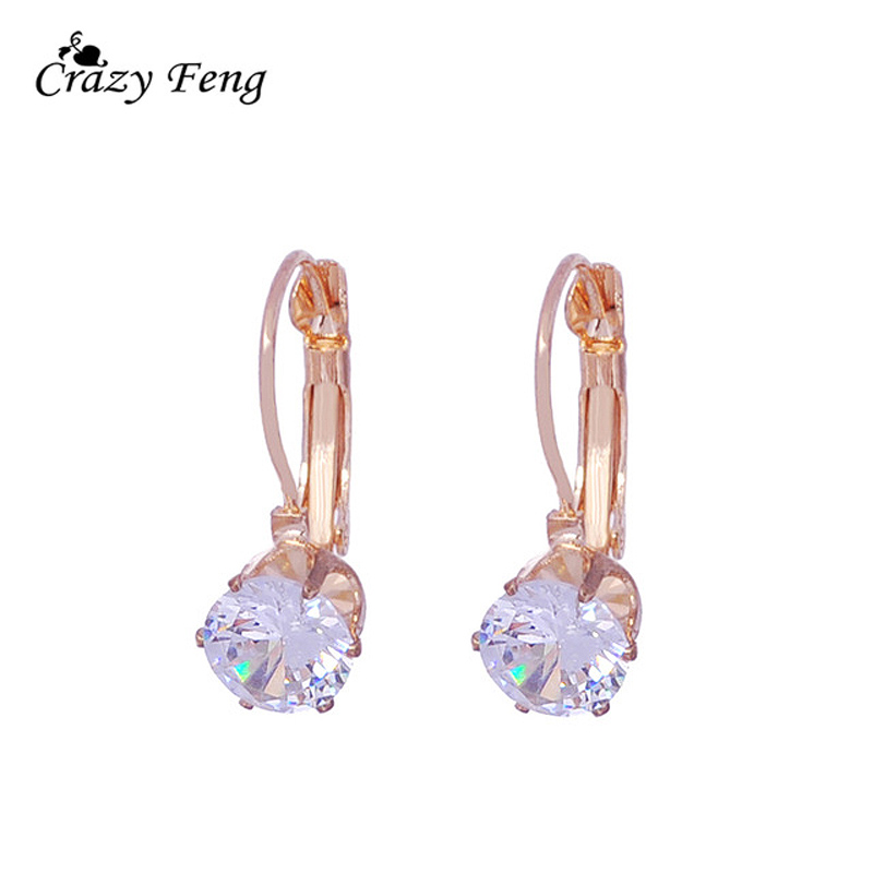 New 1PCS Womens Romantic Silver-color Red Blue White CZ Stone Pierced Hoop Earrings Round Shape Small Earring Jewelry Charms