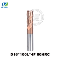 1pc D16*100L*4F 16mm High hardness machining 0 ~ 62 HRC Solid carbide 4 flute square head end mill milling cutter CNC tools